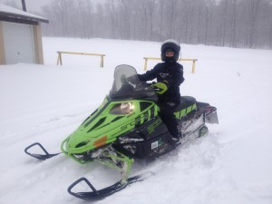 Shelly on Snowmobile